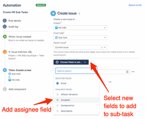 Automatically add assignee field to Jira