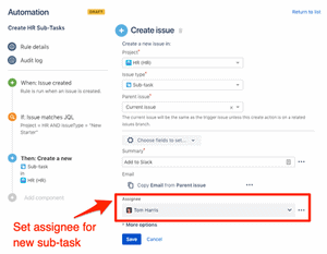 Set default assignee for new sub-tasks in Jira