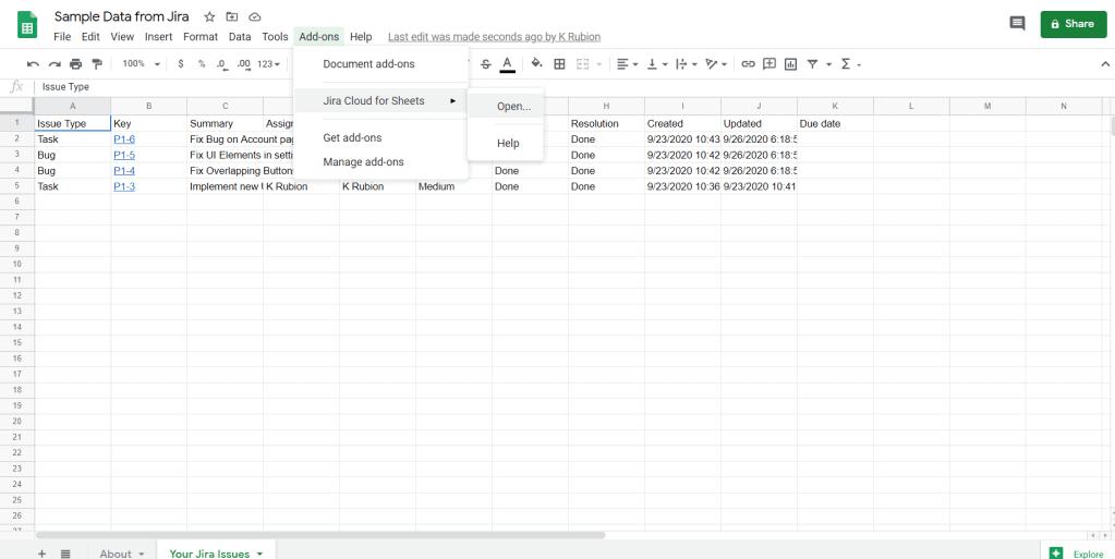 Jira Cloud Data Exported to Google Sheets