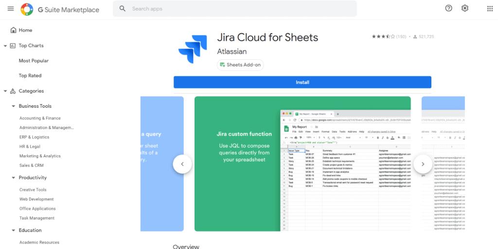 Jira Cloud for Sheets