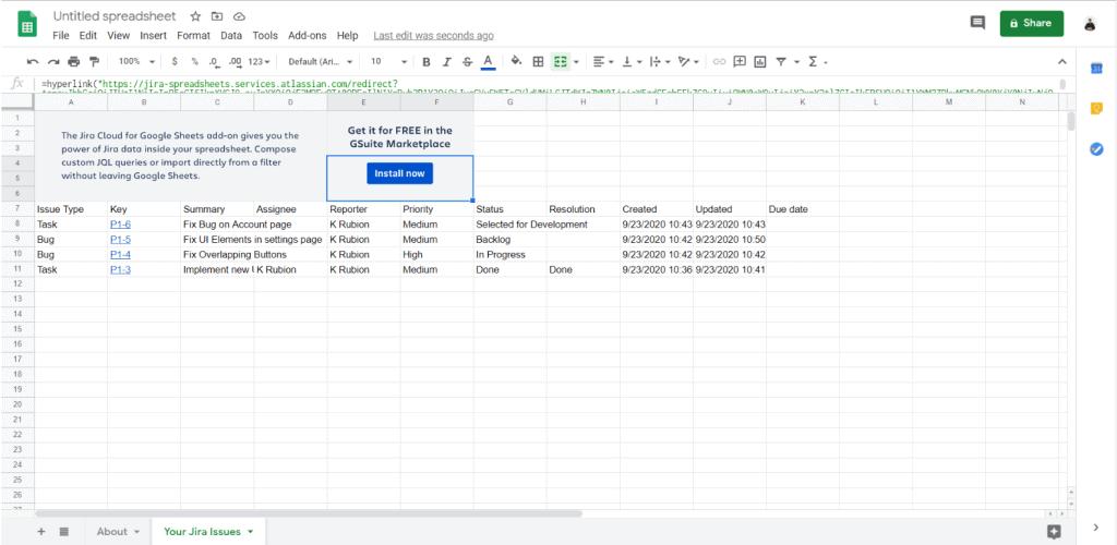 Jira Google Sheets integration